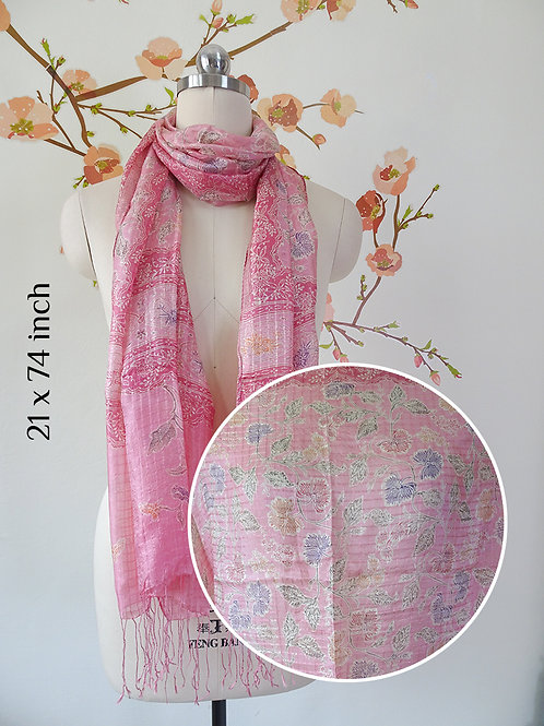 Silk Scarf Floral Pink Small Flower (Medium)