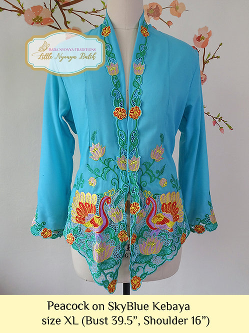 B: Peacock in Sky Blue Kebaya. Size XL