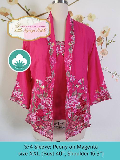 Size XXL 3/4 Sleeve Kebaya with Camisole Peony Magenta
