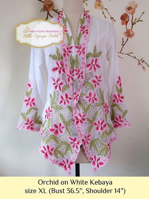 Lux: Orchid on White kebaya (XL)