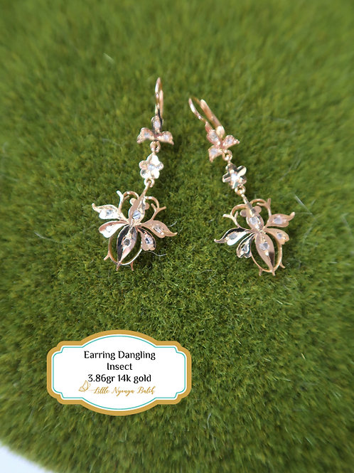 Vintage: Earring insect with intan 14k gold
