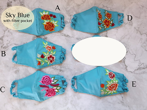 Cotton Embroidery Mask with Filter Slot Sky Blue