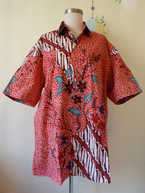 Hand-drawn Red Abstract. Cotton. Size 2XL