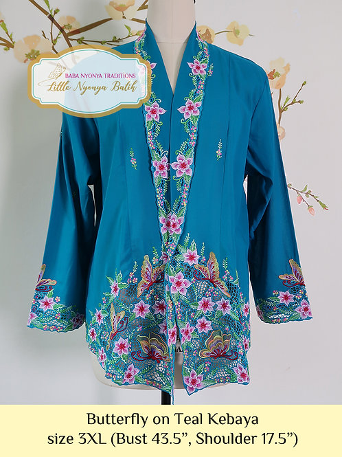 Size 3XL H: Butterfly in Teal Kebaya