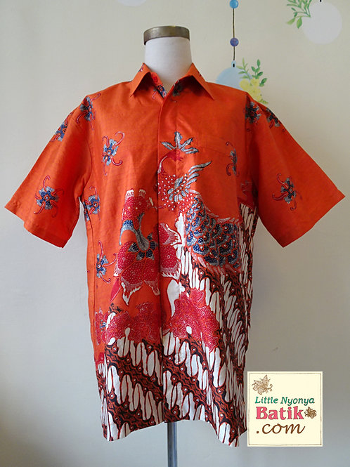 Hand-drawn Orange Peacock. Textured silk. Size L