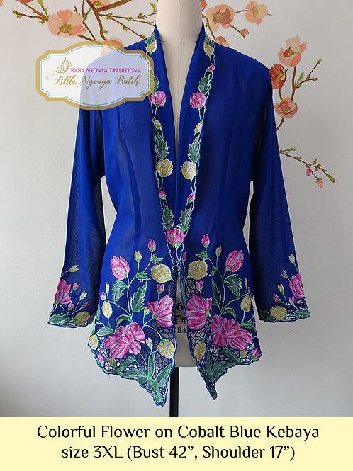 size 3XL C: Colorful Flower in Navy Blue Kebaya
