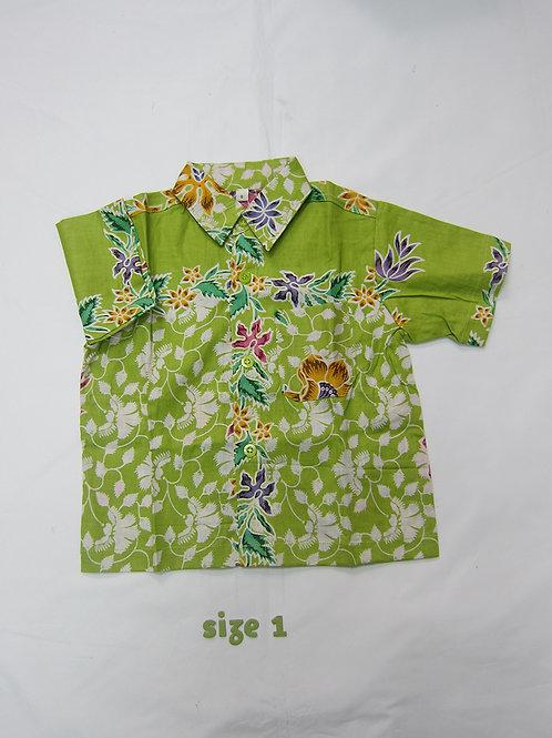 Boy Shirt Floral Lime Green. For 1yo