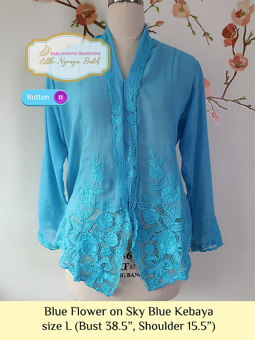 B: Blue Flower in Sky Blue Kebaya. size L