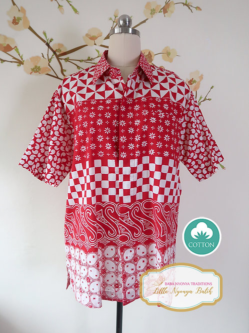 SBMS: Traditional Red White B on Cotton (L) No Lining