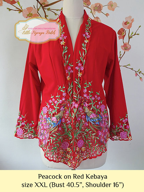 H: Peacock in Red Kebaya. Size XXL