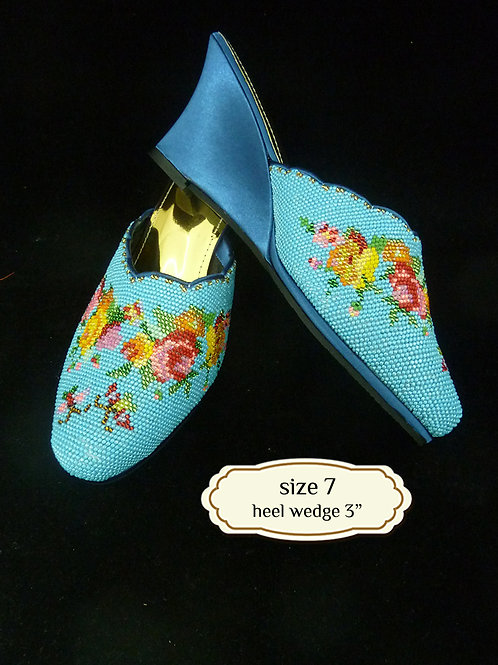 Covered Floral Butterfly on Blue Beaded Shoe. size 7 or Eur 37