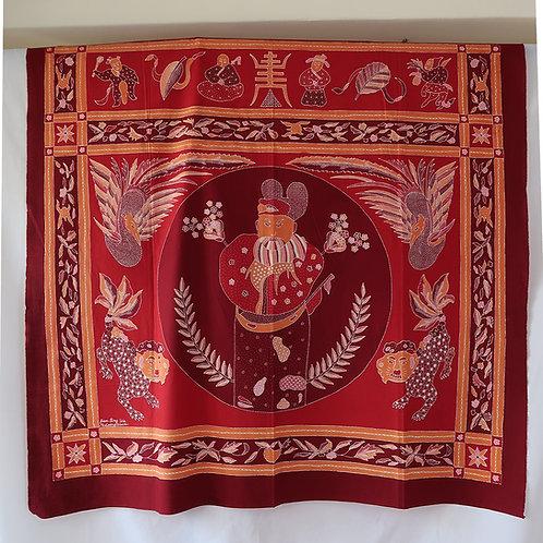 Tok Wee Carmine Red Man. 2 sided hand drawn batik