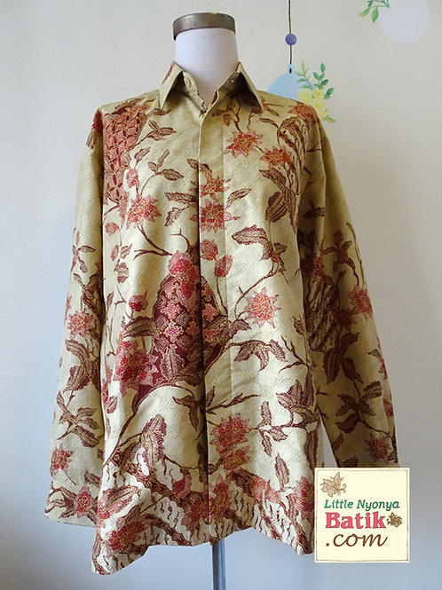 Hand-drawn Floral on LightGreen Silk. Long (XL)