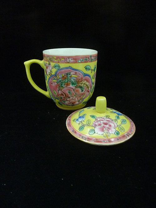 S: Mug with Lid Gold Rim Yellow