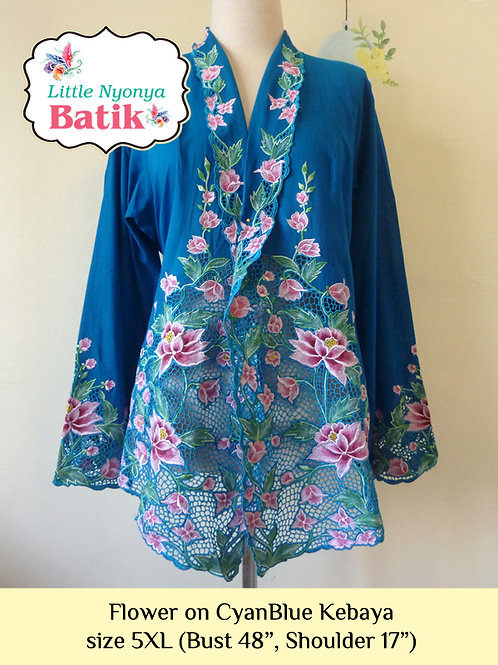 Lux: Flower on CyanBlue Kebaya (5XL)