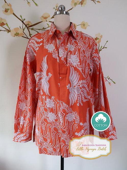 SBML: Phoenix Dark Orange on Cotton. No Lining. Size L
