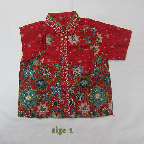 Boy Shirt Floral Red. For 1yo