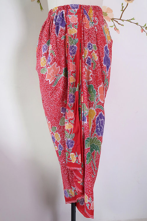 Sarong Rubberised Skirt Intricate Chili Red