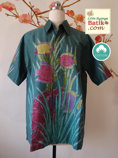 Hand-drawn Fish Forest Green. Cotton. Size M