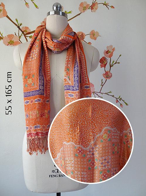 Super Silk Scarf Floral Orange (Medium)