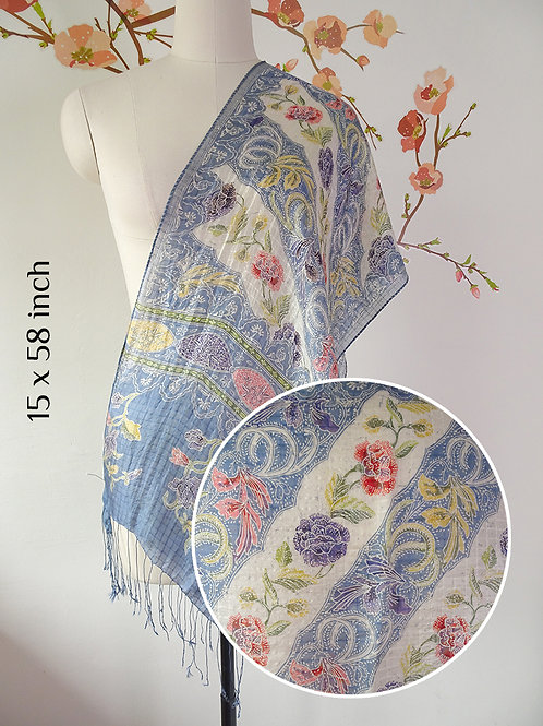 Silk Scarf Floral Blue White (Small)