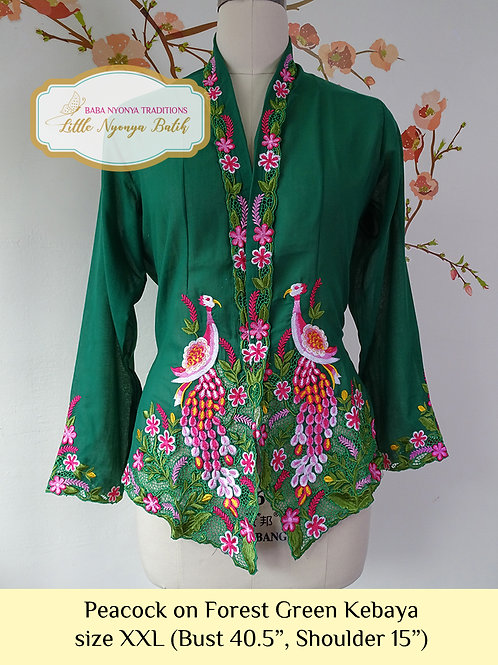 B: Peacock in Forest Green Kebaya. size XXL