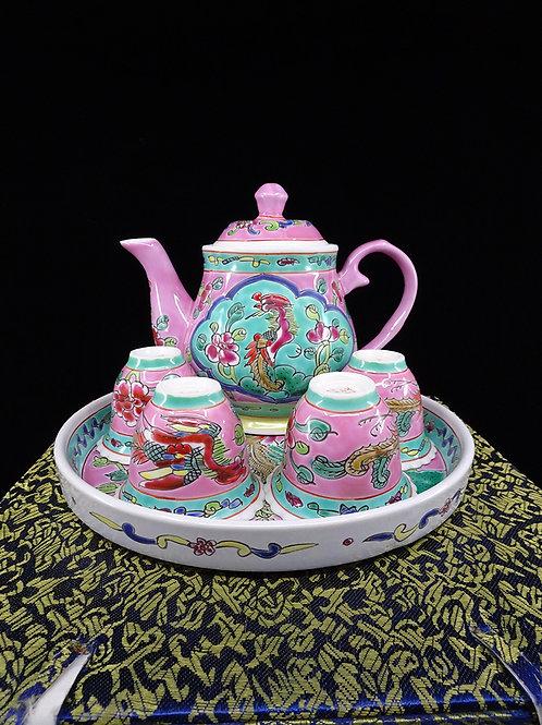 Tea Set Pink Round Tray in Box