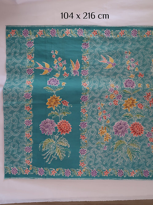 Sarong Bird Butterfly on Turquoise Cotton