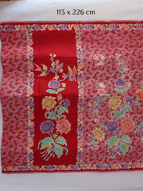 Sarong Bird & Butterfly on Red Cotton