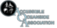 The Accessible Oceanside Association logo. At the 10:00 position is a circle with caricatures are persons with vision loss, mobility limitations, deafness/hard of hearing, and mental illness/challenges inside. The words Accessible Oceanside Association are at the 4:00 positioin.