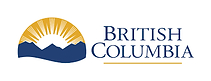 The words British Columbia on the right, iconic image of silohette of mountains with the sun rising up over them