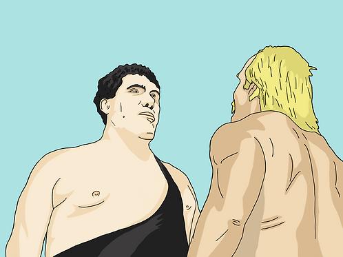 Andre vs Hogan (A3 Print)