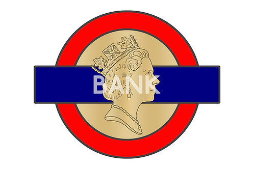 Bank A3 Giclee Print - Alternative London Underground Sign