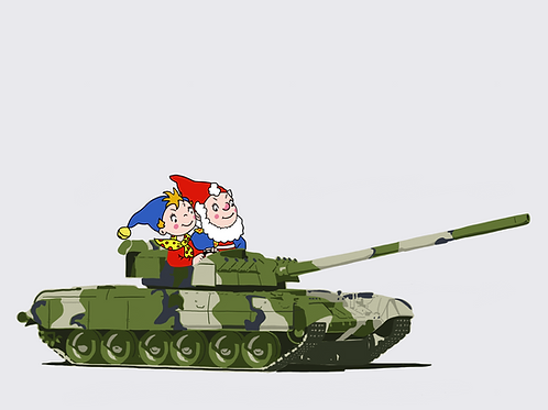 Noddy Gets Tanked Up - A3 Print