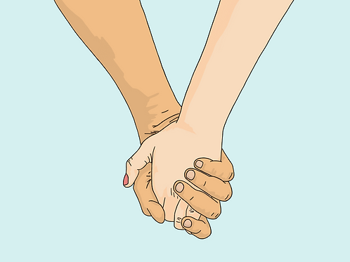 I Wanna Hold Your Hand (Light Blue) - A3 Print