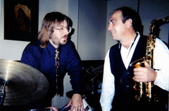 """Jeff """"JJ"""" Lisk and Greg Abate (Alto sax soloist formerly with Ray Charles, Artie Shaw), Kosta's Supper Club, Madison, WI, 1998"""
