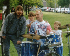 """Jeff """"JJ"""" Lisk and Jerry Marts and friends.  Jerry's annual music party, Diversey Harbor, Chicago, IL, 19xx"""
