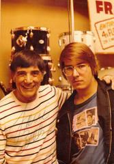 "Louis Bellson with Jeff ""JJ"" Lisk at Frank's Drum Shop, Chicago, IL, 1977"
