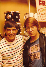 "Louis Bellson with Jeff ""JJ"" Lisk at Frank's Drum Shop, Chicago, IL, 1977"