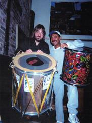Jeff JJ Lisk and Dede Sampaio at Maddrum Sonando recording session, Uber Studio, Chicago, IL 2000