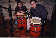 Jeff JJ Lisk and Johnny Rico recording Expresiones Caribenas, Milwaukee, WI, 1999