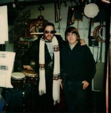 "John Hartman (Doobie Brothers drummer) and Jeff ""JJ"" Lisk at Frank's Drum Shop, Chicago, IL, 1977"