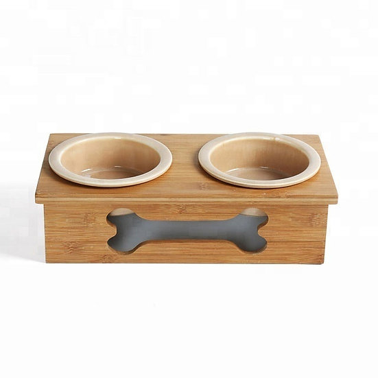 Classic Mini Bamboo Feeder with Two Ceramic Bowl
