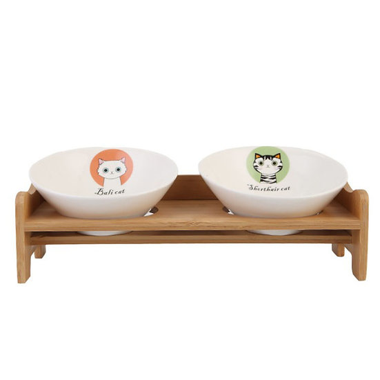 Classic Bamboo Stand With Two Ceramic Pet Bowl