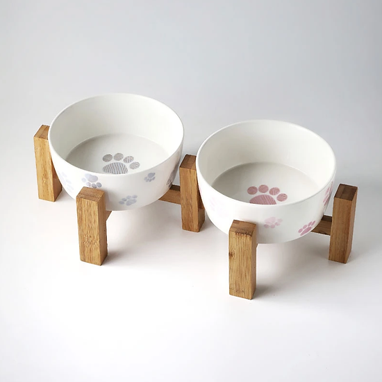 New Design Ceramic Pet Bowls for Dogs and Cats Bamboo Stand Double Pet Bowls