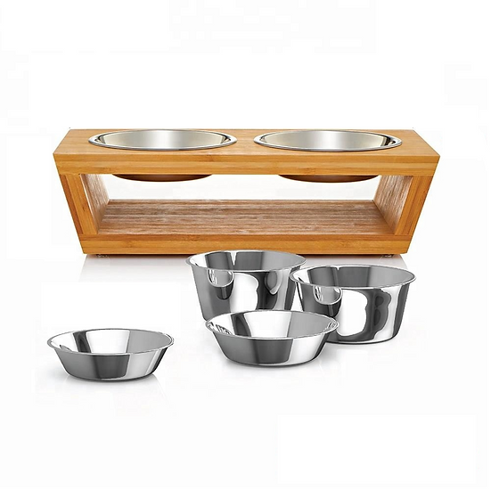 Eco Bamboo Pet Feeder With Two Stainless Steel Bowls