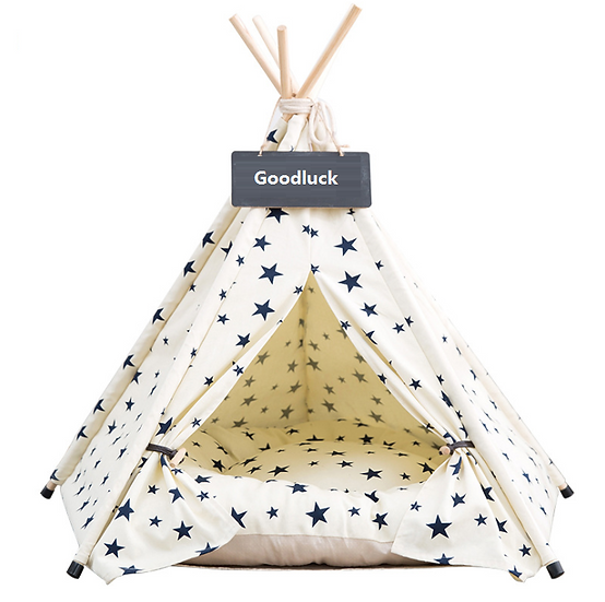 Soft Warm Foldable Teepee & Bed - White Base Blue Star