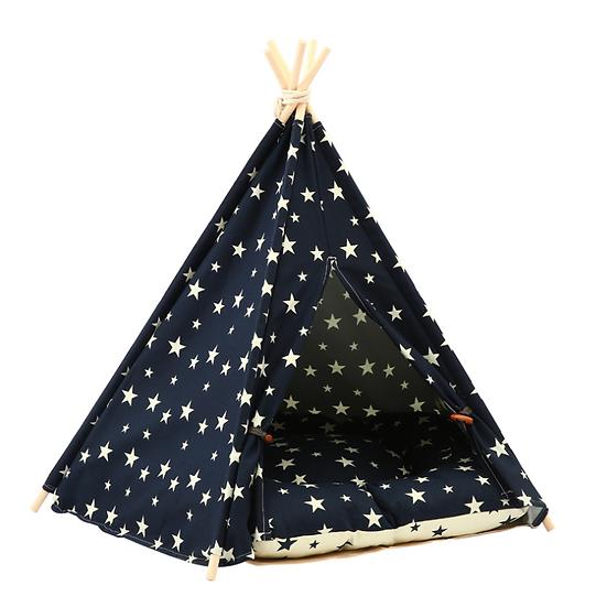 Soft Warm Foldable Teepee & Bed - Black Star