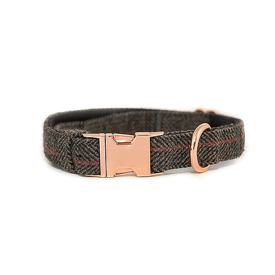 Rose Gold Metal Buckle Tweed Dog Leash with Collar