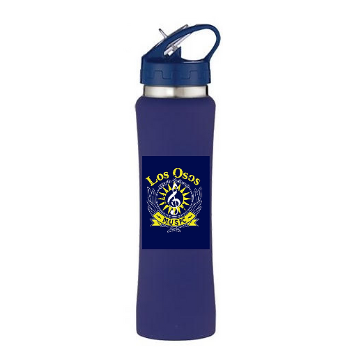 Blue Water Bottle with Music Logo